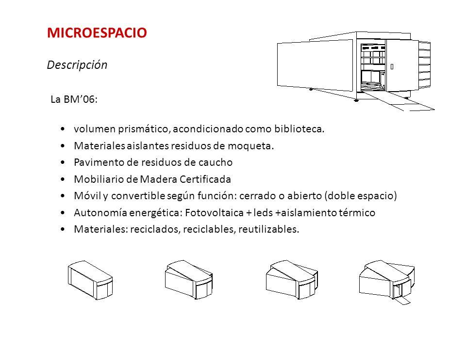 MICROESPACIO Descripción La BM06: volumen prismático, acondicionado como biblioteca. Materiales aislantes residuos de moqueta. Pavimento de residuos d