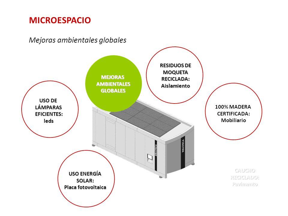 MICROESPACIO Mejoras ambientales globales 100% MADERA CERTIFICADA: Mobiliario CAUCHO RECICLADO: Pavimento RESIDUOS DE MOQUETA RECICLADA: Aislamiento U