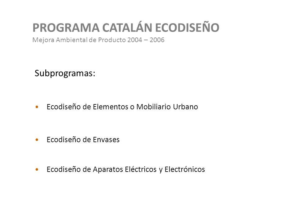 PROGRAMA CATALÁN ECODISEÑO Mejora Ambiental de Producto 2004 – 2006 Subprogramas: Ecodiseño de Elementos o Mobiliario Urbano Ecodiseño de Envases Ecod