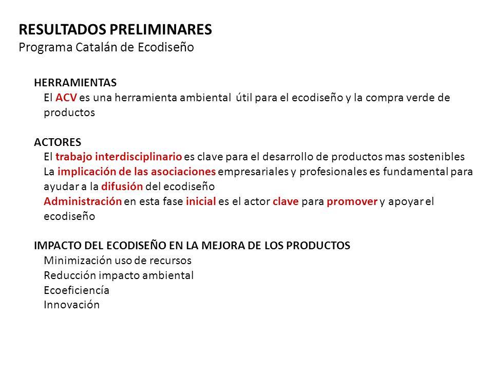 RESULTADOS PRELIMINARES Programa Catalán de Ecodiseño HERRAMIENTAS El ACV es una herramienta ambiental útil para el ecodiseño y la compra verde de pro