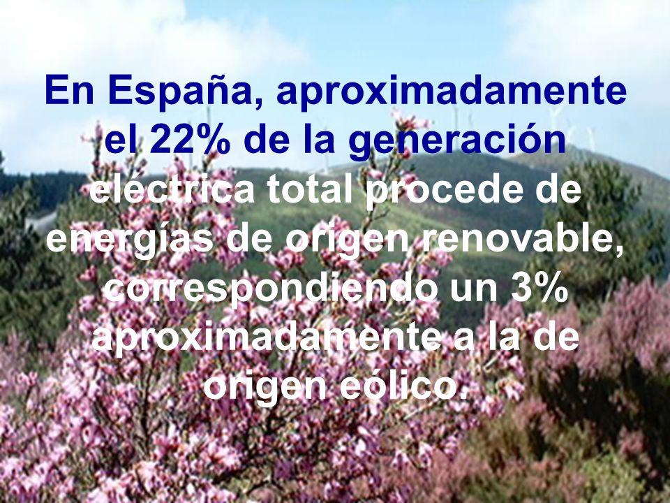 En España, aproximadamente el 22% de la generación eléctrica total procede de energías de origen renovable, correspondiendo un 3% aproximadamente a la