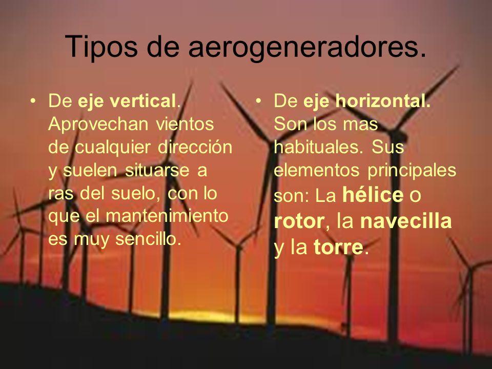 Tipos de aerogeneradores. De eje vertical. Aprovechan vientos de cualquier dirección y suelen situarse a ras del suelo, con lo que el mantenimiento es