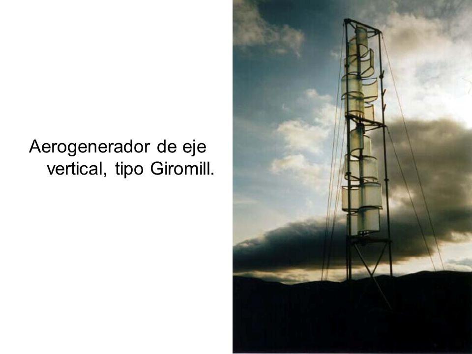 Aerogenerador de eje vertical, tipo Giromill.