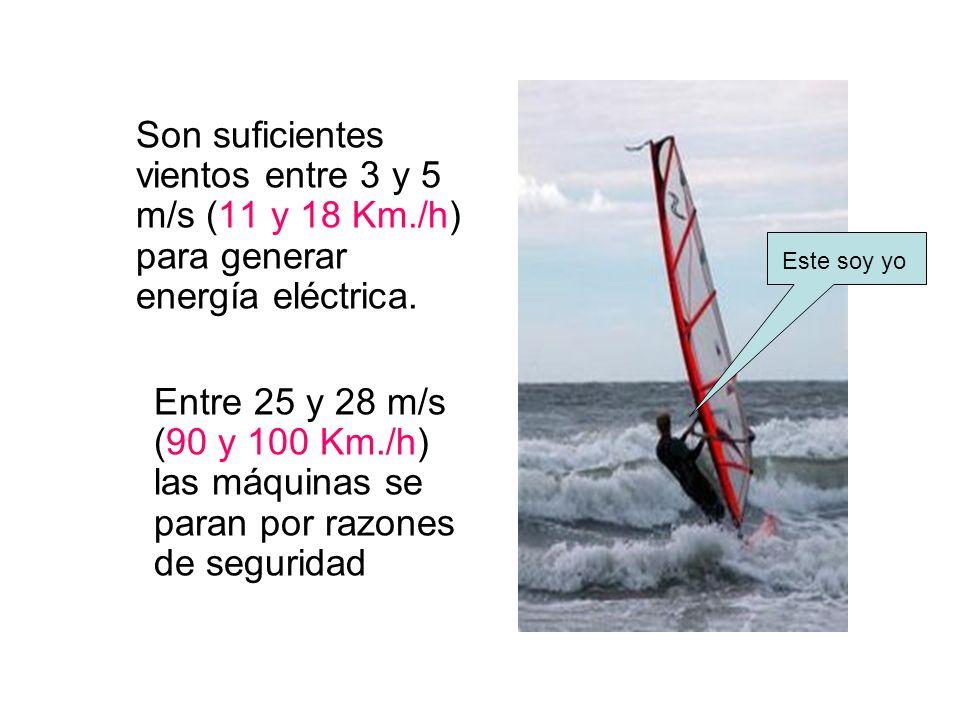 Son suficientes vientos entre 3 y 5 m/s (11 y 18 Km./h) para generar energía eléctrica. Entre 25 y 28 m/s (90 y 100 Km./h) las máquinas se paran por r