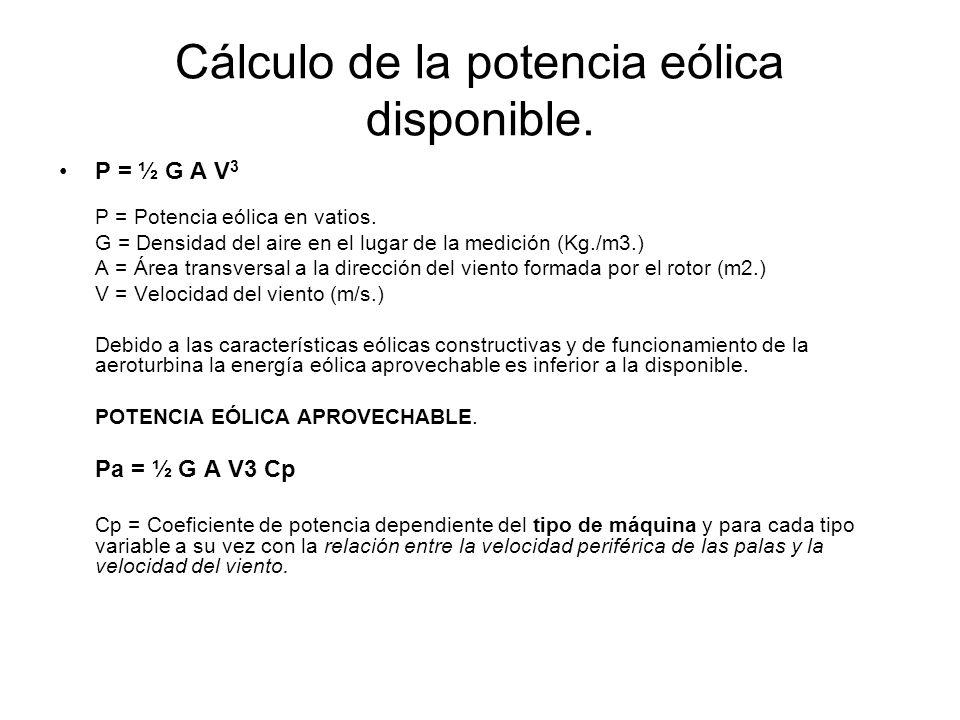 Cálculo de la potencia eólica disponible. P = ½ G A V 3 P = Potencia eólica en vatios. G = Densidad del aire en el lugar de la medición (Kg./m3.) A =