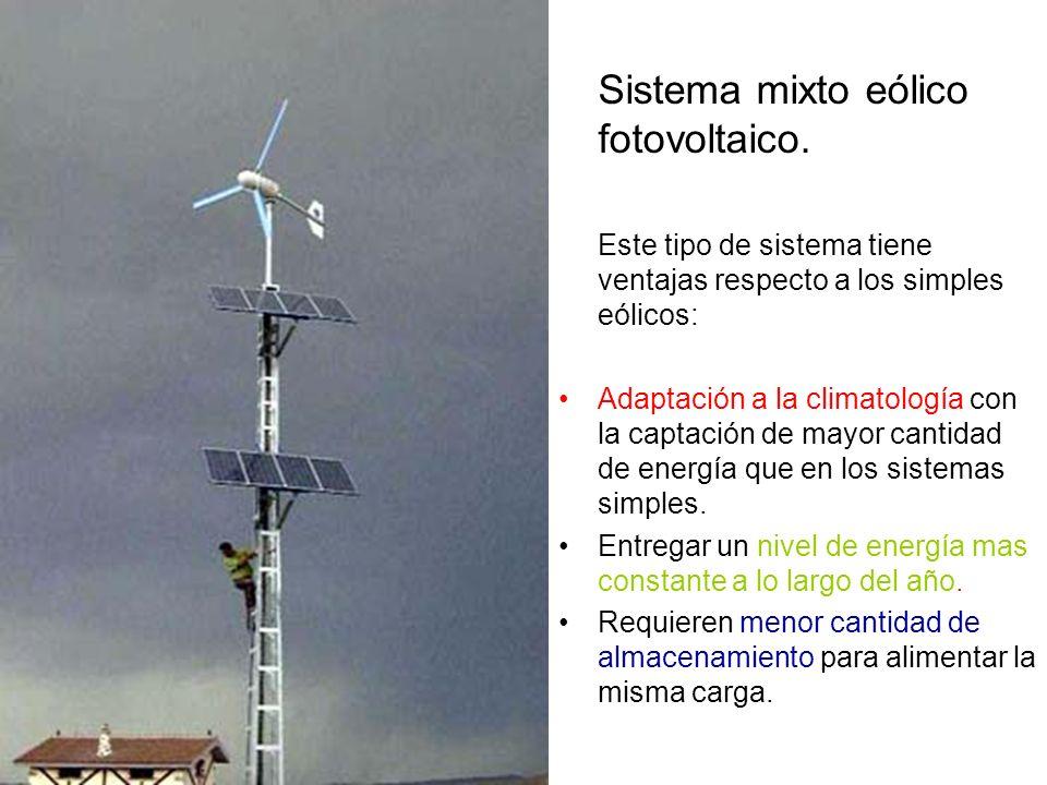 Sistema mixto eólico fotovoltaico. Este tipo de sistema tiene ventajas respecto a los simples eólicos: Adaptación a la climatología con la captación d