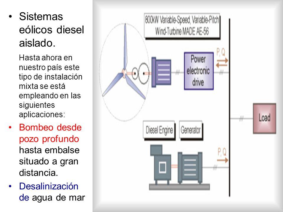 Sistemas eólicos diesel aislado. Hasta ahora en nuestro país este tipo de instalación mixta se está empleando en las siguientes aplicaciones: Bombeo d