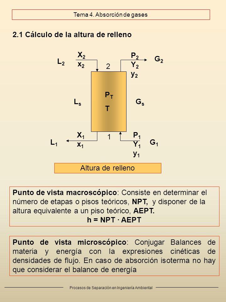 Procesos de Separación en Ingeniería Ambiental 2.1 Cálculo de la altura de relleno Altura de relleno Punto de vista macroscópico: Consiste en determinar el número de etapas o pisos teóricos, NPT, y disponer de la altura equivalente a un piso teórico, AEPT.