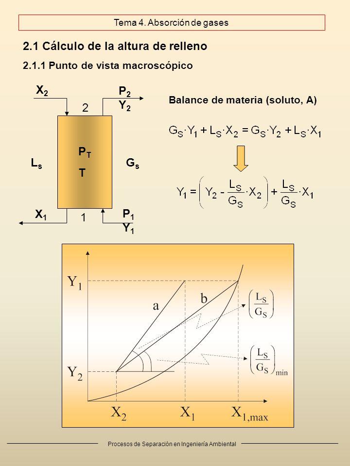 Procesos de Separación en Ingeniería Ambiental 2.1 Cálculo de la altura de relleno 2.1.1 Punto de vista macroscópico P1Y1P1Y1 P2Y2P2Y2 X1X1 X2X2 PTTPTT LsLs GsGs Balance de materia (soluto, A) 1 2 Tema 4.
