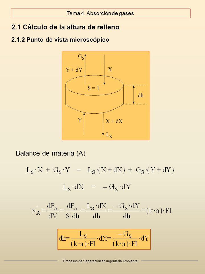 Procesos de Separación en Ingeniería Ambiental 2.1 Cálculo de la altura de relleno 2.1.2 Punto de vista microscópico Balance de materia (A) Tema 4.