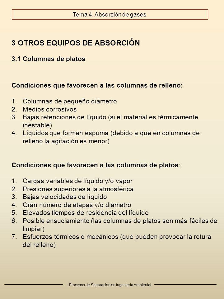 Procesos de Separación en Ingeniería Ambiental 3 OTROS EQUIPOS DE ABSORCIÓN 3.1 Columnas de platos Condiciones que favorecen a las columnas de relleno