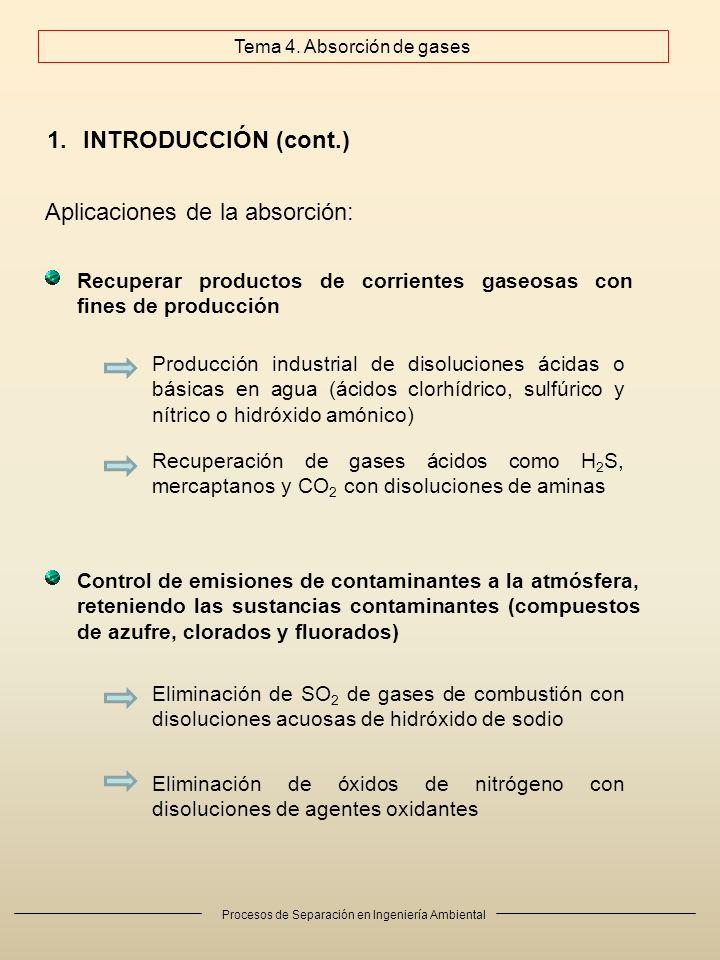 Procesos de Separación en Ingeniería Ambiental 1.INTRODUCCIÓN (cont.) Aplicaciones de la absorción: Recuperar productos de corrientes gaseosas con fines de producción Control de emisiones de contaminantes a la atmósfera, reteniendo las sustancias contaminantes (compuestos de azufre, clorados y fluorados) Recuperación de gases ácidos como H 2 S, mercaptanos y CO 2 con disoluciones de aminas Producción industrial de disoluciones ácidas o básicas en agua (ácidos clorhídrico, sulfúrico y nítrico o hidróxido amónico) Eliminación de SO 2 de gases de combustión con disoluciones acuosas de hidróxido de sodio Eliminación de óxidos de nitrógeno con disoluciones de agentes oxidantes Tema 4.