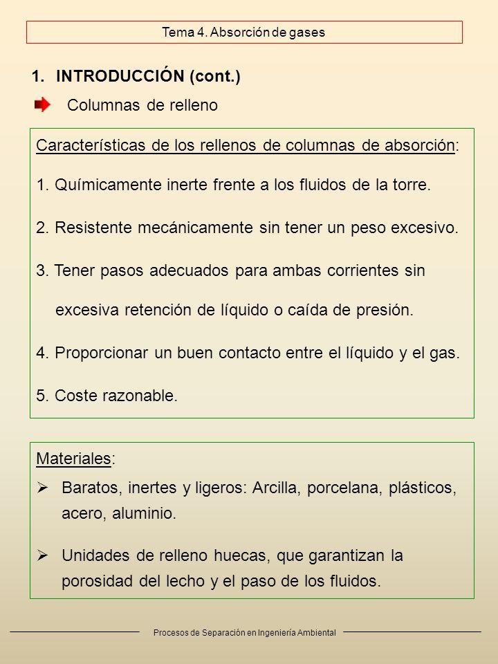 Procesos de Separación en Ingeniería Ambiental 1.INTRODUCCIÓN (cont.) Características de los rellenos de columnas de absorción: 1. Químicamente inerte