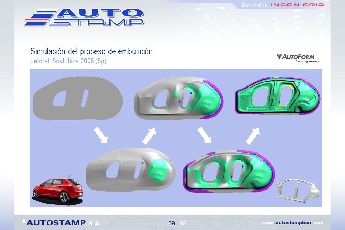 Simulación del proceso de embutición Lateral. Seat Ibiza 2008 (5p) 09 - 16 Dominio de la