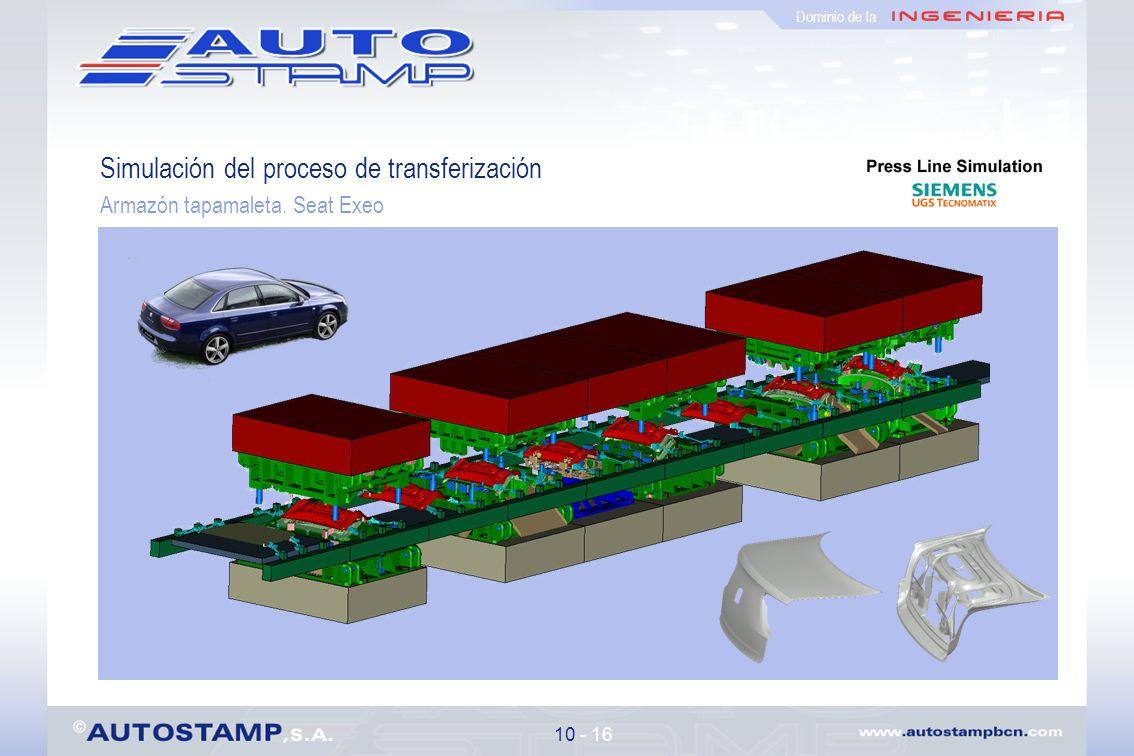 Simulación del proceso de transferización Armazón tapamaleta. Seat Exeo 10 - 16 Dominio de la