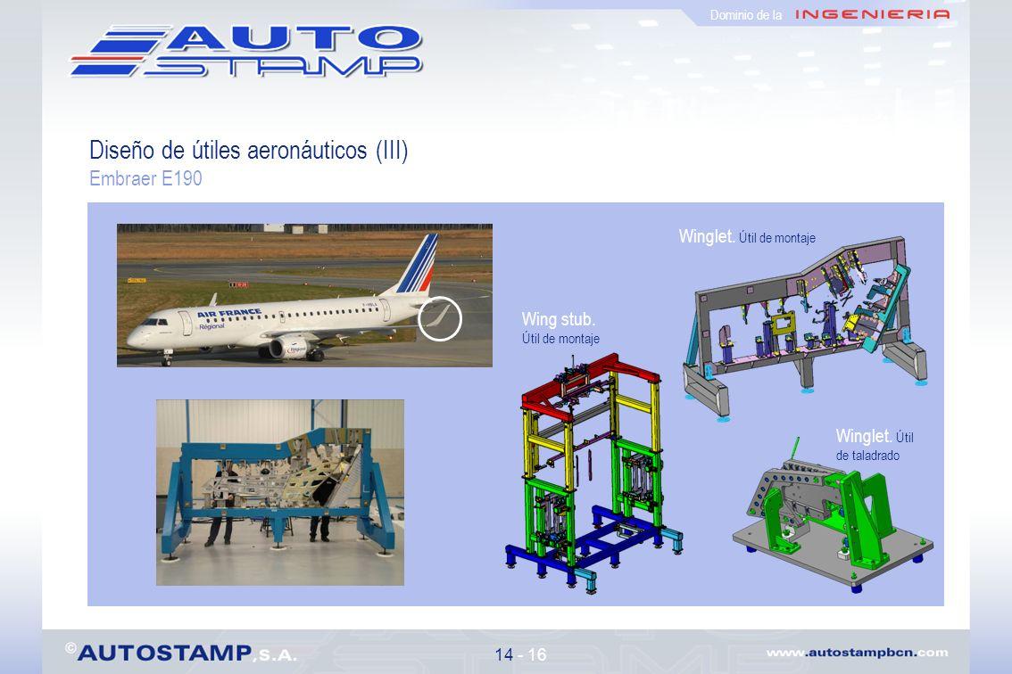 Diseño de útiles aeronáuticos (III) Embraer E190 14 - 16 Dominio de la Winglet.