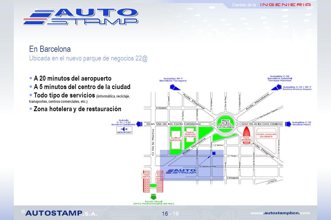 En Barcelona Ubicada en el nuevo parque de negocios 22@ 16 - 16 A 20 minutos del aeropuerto A 5 minutos del centro de la ciudad Todo tipo de servicios (informática, reciclaje, transportes, centros comerciales, etc.) Zona hotelera y de restauración Dominio de la Mapa de situación