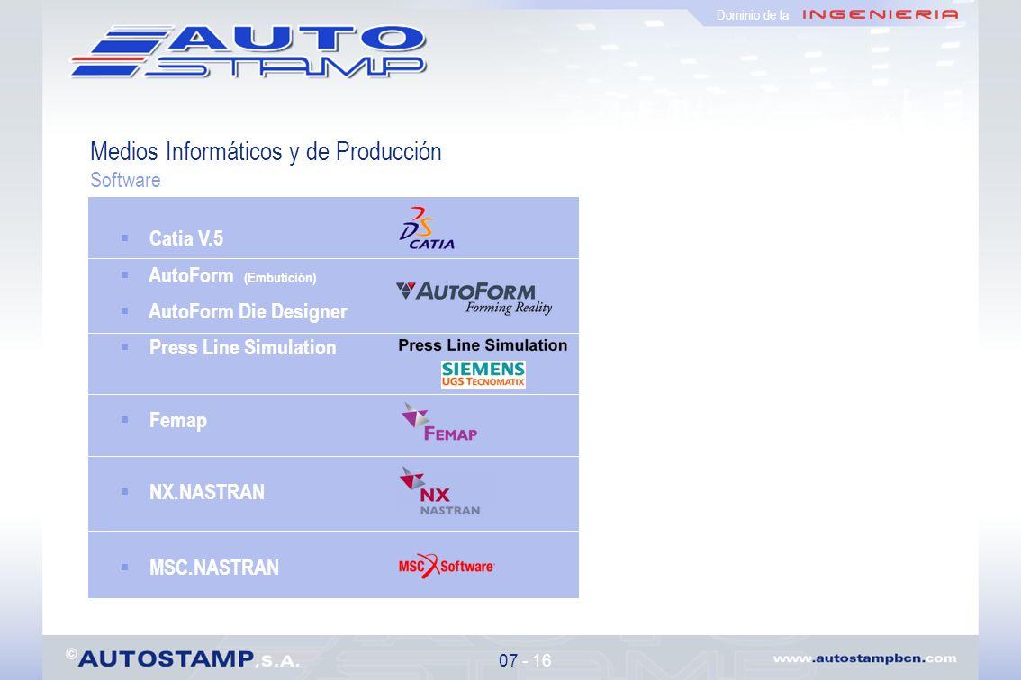 Medios Informáticos y de Producción Software 07 - 16 Dominio de la Catia V.5 AutoForm (Embutición) AutoForm Die Designer Press Line Simulation Femap NX.NASTRAN MSC.NASTRAN