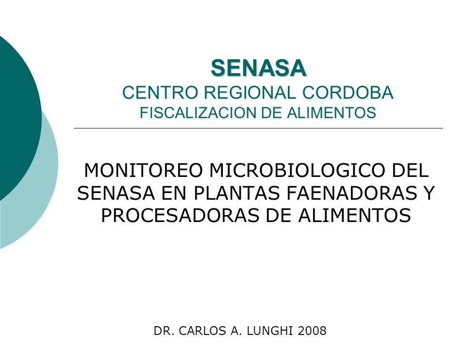 SENASA SENASA CENTRO REGIONAL CORDOBA FISCALIZACION DE ALIMENTOS MONITOREO MICROBIOLOGICO DEL SENASA EN PLANTAS FAENADORAS Y PROCESADORAS DE ALIMENTOS