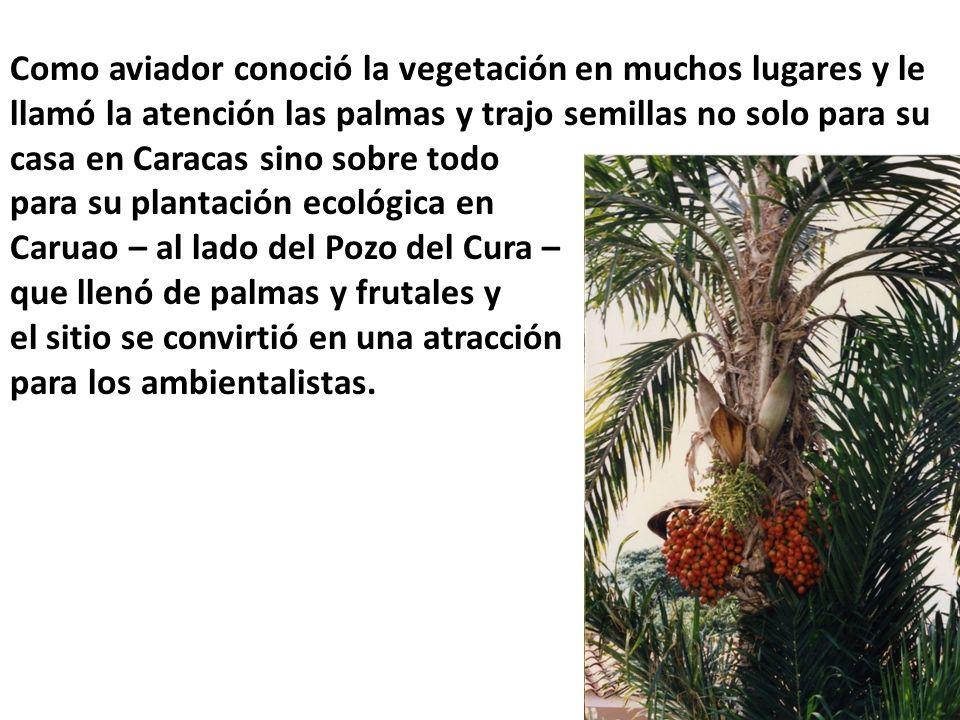 Como aviador conoció la vegetación en muchos lugares y le llamó la atención las palmas y trajo semillas no solo para su casa en Caracas sino sobre todo para su plantación ecológica en Caruao – al lado del Pozo del Cura – que llenó de palmas y frutales y el sitio se convirtió en una atracción para los ambientalistas.