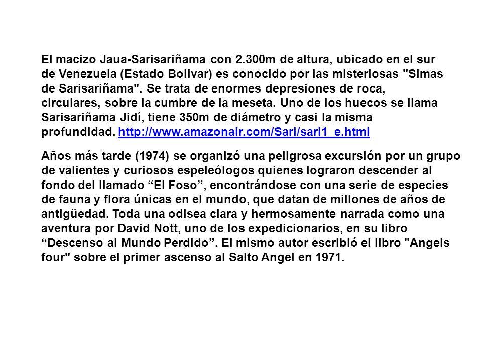 El macizo Jaua-Sarisariñama con 2.300m de altura, ubicado en el sur de Venezuela (Estado Bolivar) es conocido por las misteriosas Simas de Sarisariñama .