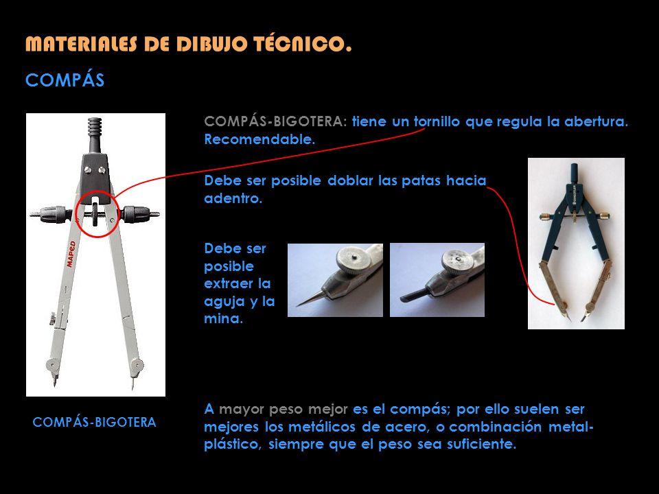 COMPÁS MATERIALES DE DIBUJO TÉCNICO. COMPÁS-BIGOTERA COMPÁS-BIGOTERA: tiene un tornillo que regula la abertura. Recomendable. Debe ser posible doblar