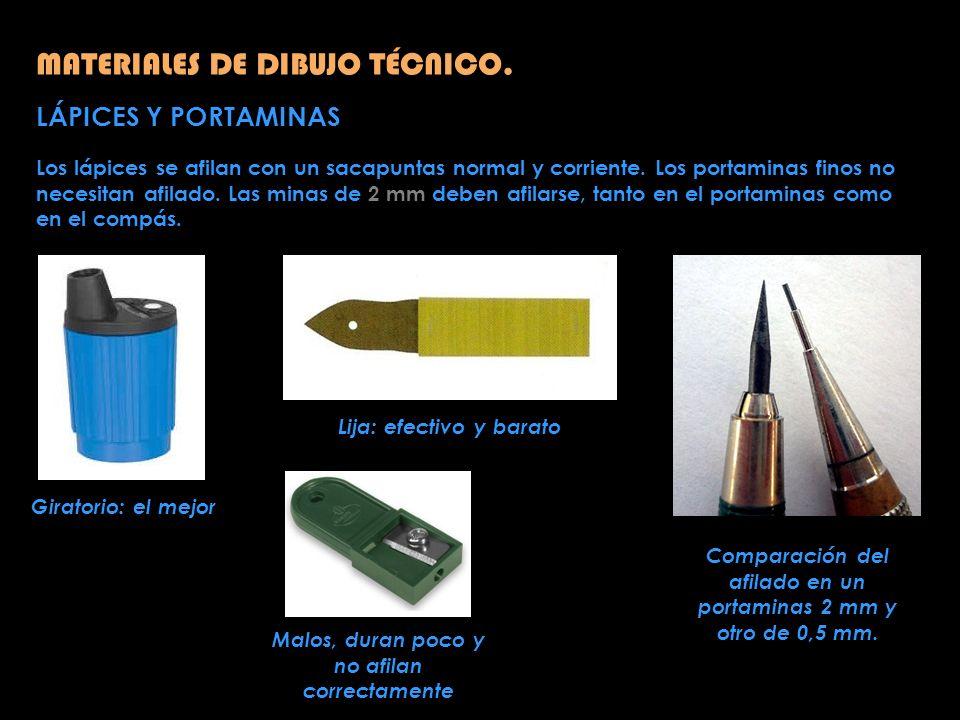 MATERIALES DE DIBUJO TÉCNICO. LÁPICES Y PORTAMINAS Los lápices se afilan con un sacapuntas normal y corriente. Los portaminas finos no necesitan afila