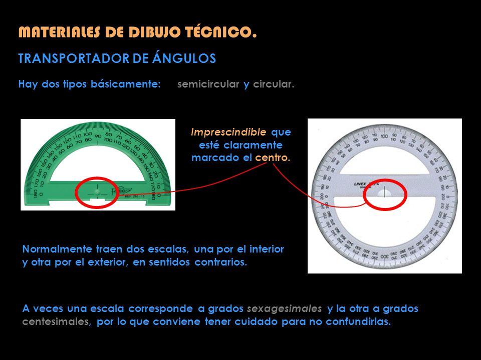 MATERIALES DE DIBUJO TÉCNICO. TRANSPORTADOR DE ÁNGULOS Hay dos tipos básicamente: semicircular y circular. Imprescindible que esté claramente marcado