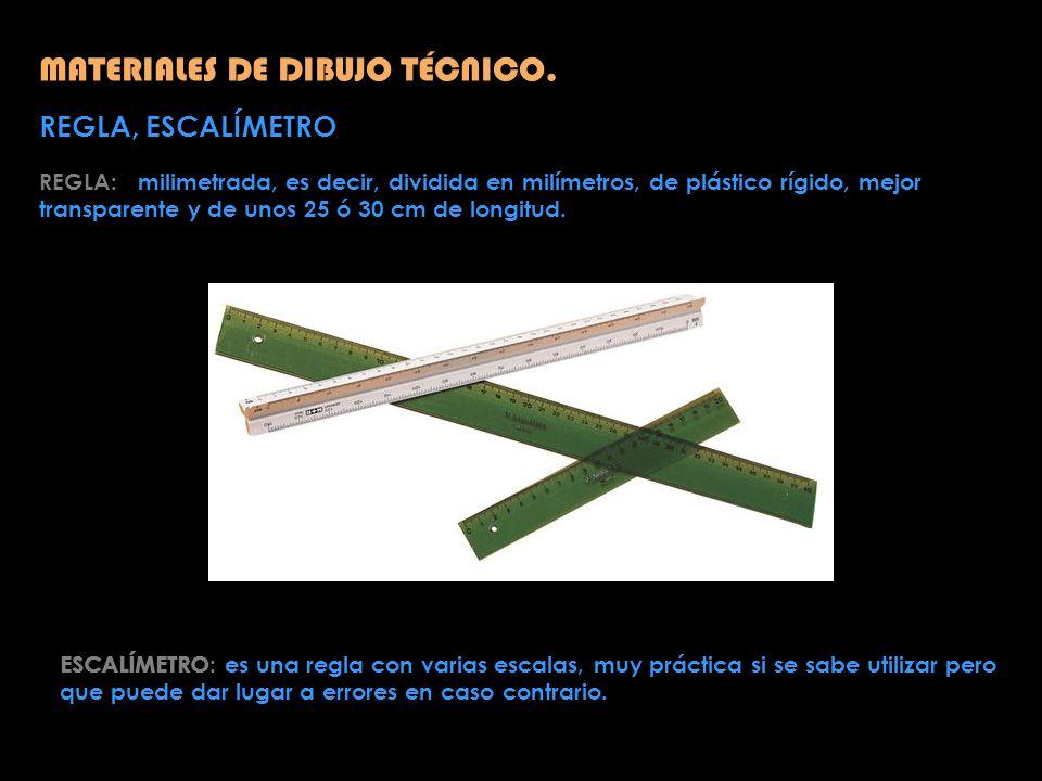MATERIALES DE DIBUJO TÉCNICO. REGLA, ESCALÍMETRO REGLA: milimetrada, es decir, dividida en milímetros, de plástico rígido, mejor transparente y de uno