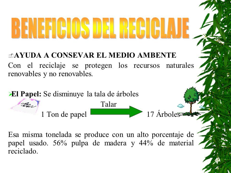 AYUDA A CONSEVAR EL MEDIO AMBENTE Con el reciclaje se protegen los recursos naturales renovables y no renovables.