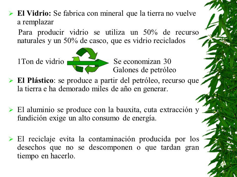 El Vidrio: Se fabrica con mineral que la tierra no vuelve a remplazar Para producir vidrio se utiliza un 50% de recurso naturales y un 50% de casco, que es vidrio reciclados 1Ton de vidrio Se economizan 30 Galones de petróleo El Plástico: se produce a partir del petróleo, recurso que la tierra e ha demorado miles de año en generar.