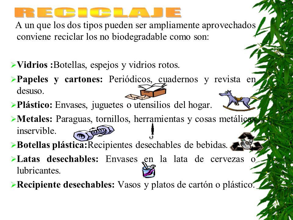 A un que los dos tipos pueden ser ampliamente aprovechados conviene reciclar los no biodegradable como son: Vidrios :Botellas, espejos y vidrios rotos.