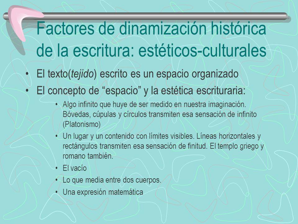 Factores de dinamización histórica de la escritura: Estéticos culturales Las necesidades de carácter práctico que exigen respuestas y soluciones diversas.