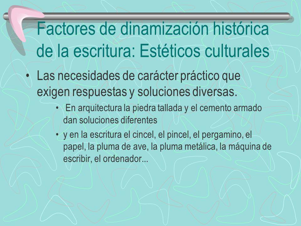 Factores de dinamización histórica de la escritura: Estéticos culturales Las necesidades de carácter práctico que exigen respuestas y soluciones diver