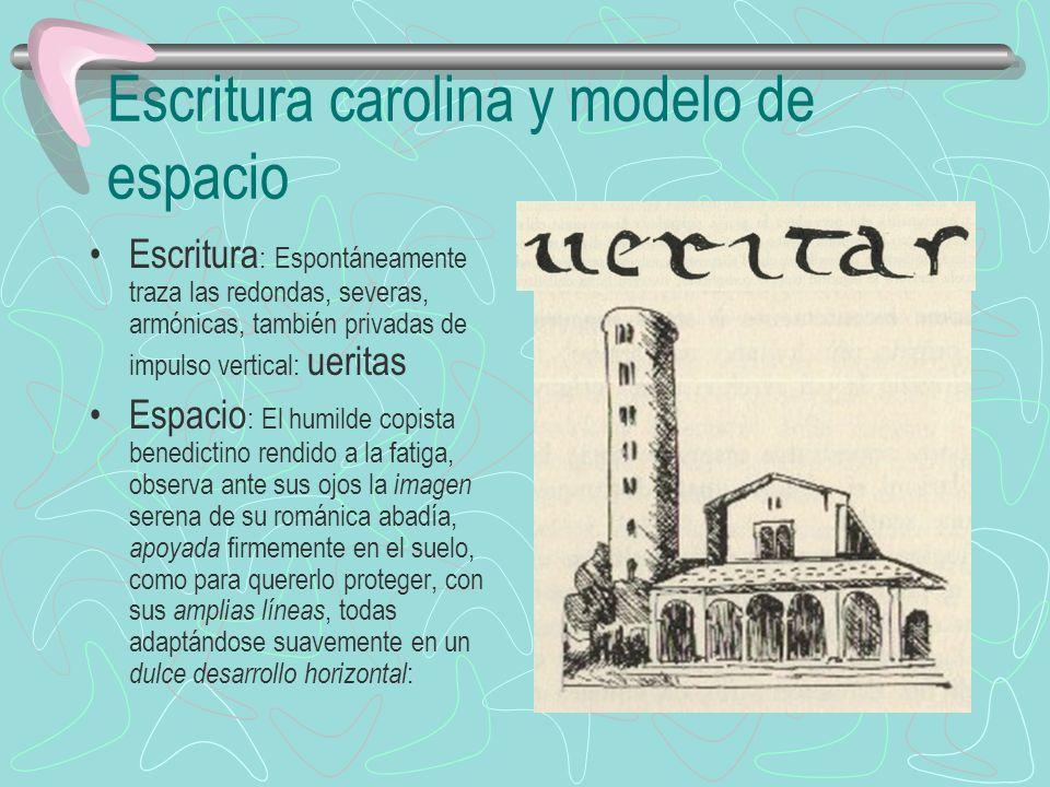 Escritura carolina y modelo de espacio Escritura : Espontáneamente traza las redondas, severas, armónicas, también privadas de impulso vertical: uerit