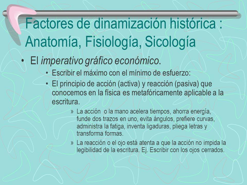 Factores de dinamización histórica : Anatomía, Fisiología, Sicología El imperativo gráfico económico. Escribir el máximo con el mínimo de esfuerzo: El