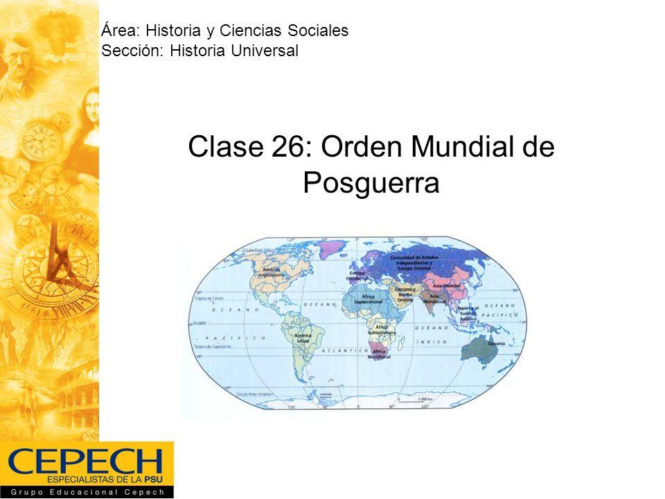 Clase 26: Orden Mundial de Posguerra Área: Historia y Ciencias Sociales Sección: Historia Universal