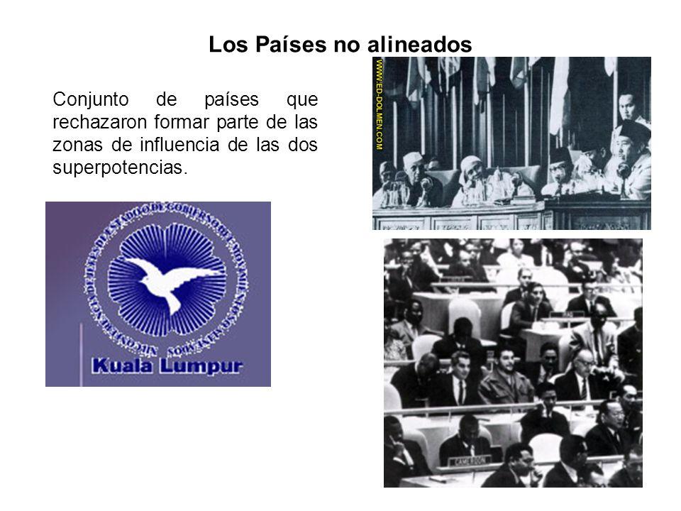 Los Países no alineados Conjunto de países que rechazaron formar parte de las zonas de influencia de las dos superpotencias.