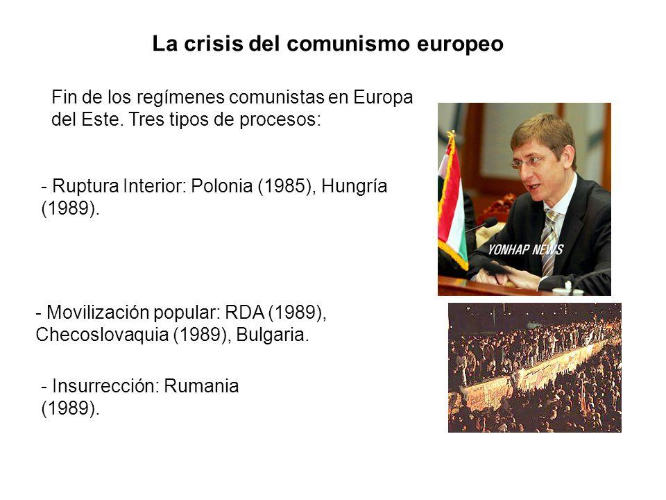 La crisis del comunismo europeo Fin de los regímenes comunistas en Europa del Este. Tres tipos de procesos: - Ruptura Interior: Polonia (1985), Hungrí