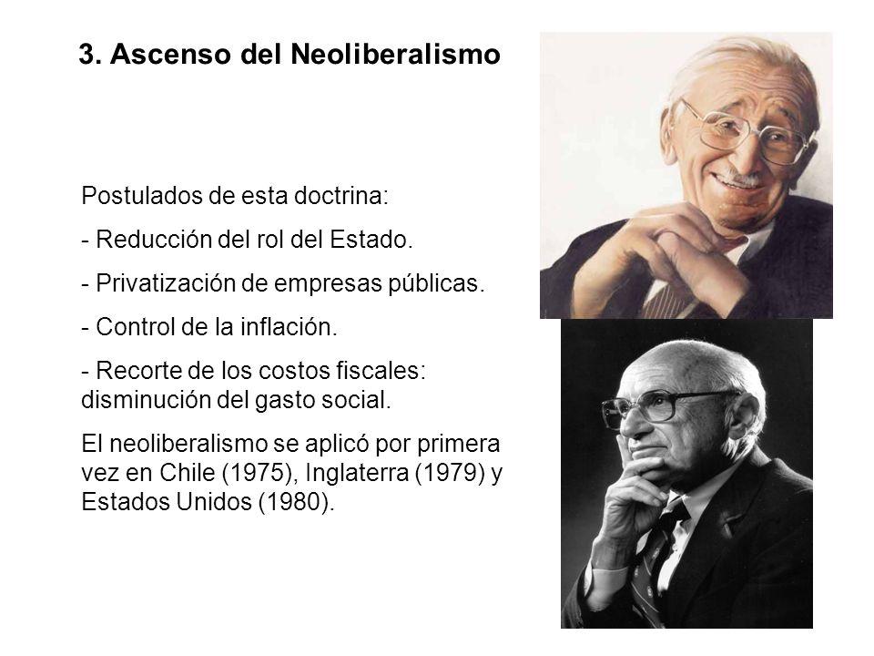 3. Ascenso del Neoliberalismo Postulados de esta doctrina: - Reducción del rol del Estado. - Privatización de empresas públicas. - Control de la infla