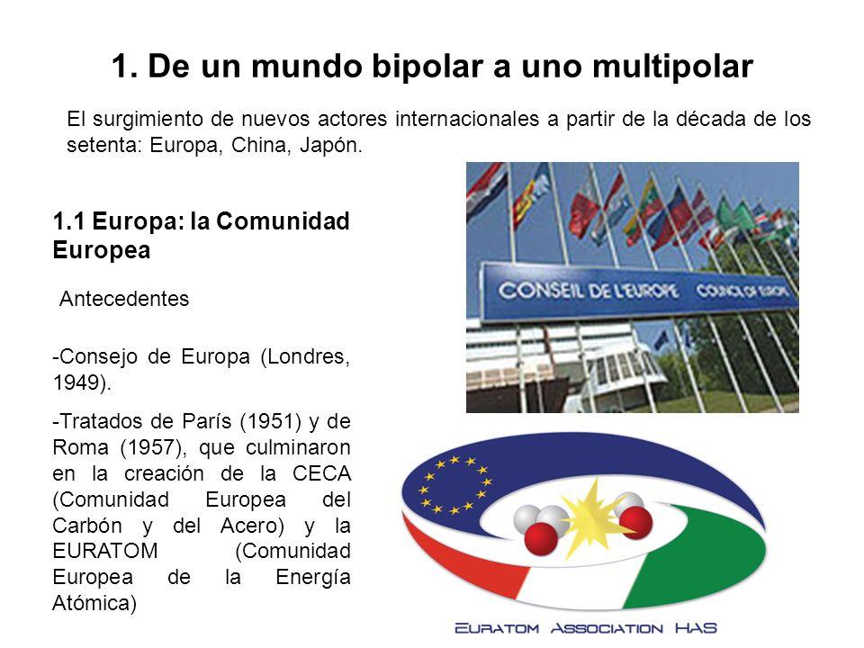 1. De un mundo bipolar a uno multipolar El surgimiento de nuevos actores internacionales a partir de la década de los setenta: Europa, China, Japón. 1