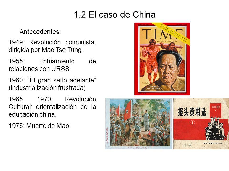 1.2 El caso de China Antecedentes: 1949: Revolución comunista, dirigida por Mao Tse Tung. 1955: Enfriamiento de relaciones con URSS. 1960: El gran sal