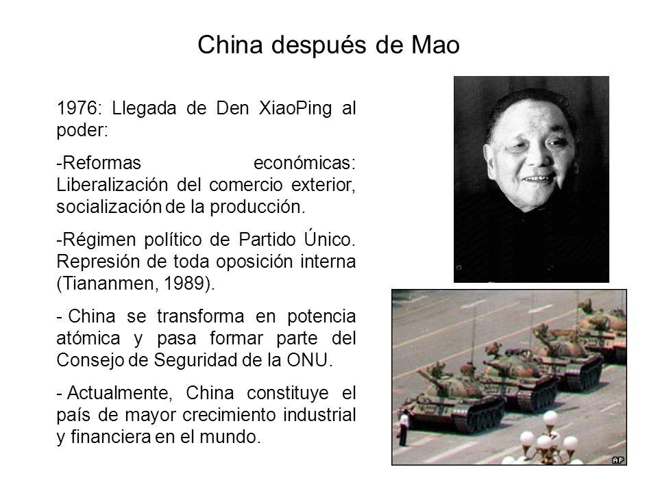 China después de Mao 1976: Llegada de Den XiaoPing al poder: -Reformas económicas: Liberalización del comercio exterior, socialización de la producción.