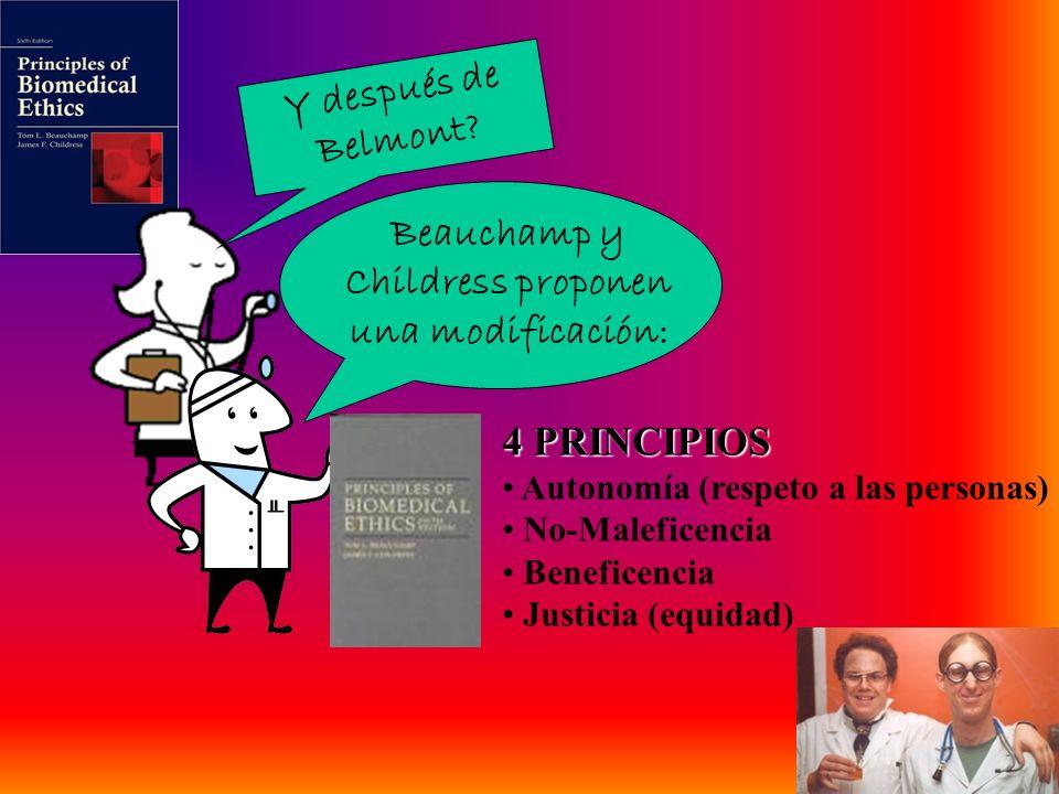 Y después de Belmont? Beauchamp y Childress proponen una modificación: 4 PRINCIPIOS Autonomía (respeto a las personas) No-Maleficencia Beneficencia Ju