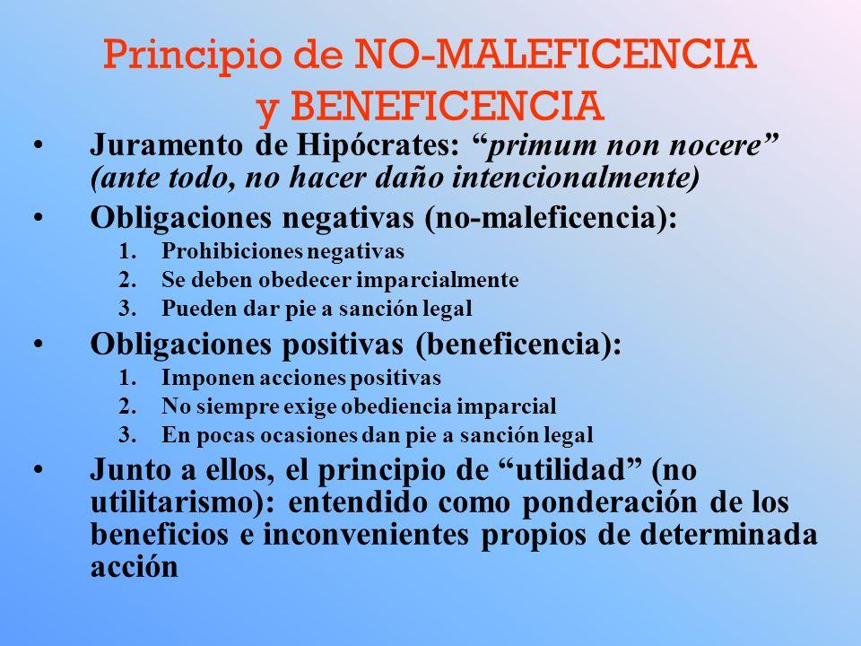 Principio de NO-MALEFICENCIA y BENEFICENCIA Juramento de Hipócrates: primum non nocere (ante todo, no hacer daño intencionalmente) Obligaciones negati