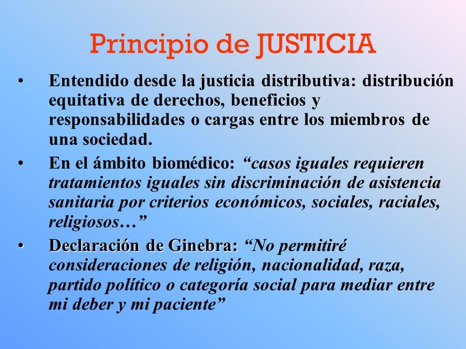 Principio de JUSTICIA Entendido desde la justicia distributiva: distribución equitativa de derechos, beneficios y responsabilidades o cargas entre los