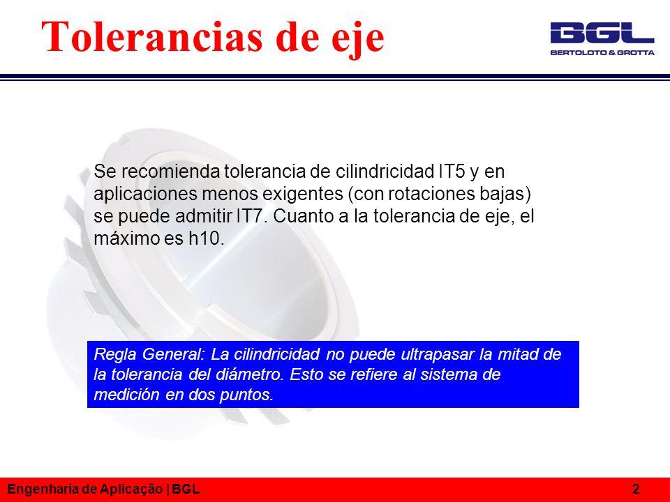 Engenharia de Aplicação | BGL 2 Se recomienda tolerancia de cilindricidad IT5 y en aplicaciones menos exigentes (con rotaciones bajas) se puede admiti