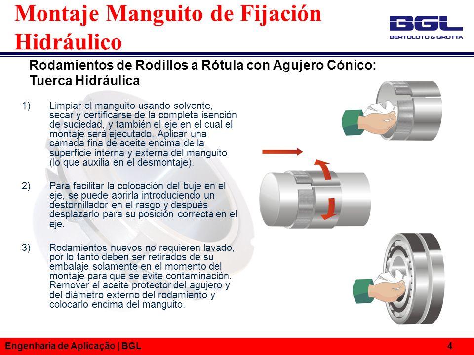Engenharia de Aplicação | BGL 4 Montaje Manguito de Fijación Hidráulico 1)Limpiar el manguito usando solvente, secar y certificarse de la completa ise