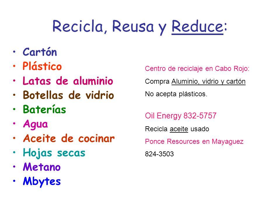Recicla, Reusa y Reduce: Cartón Plástico Latas de aluminio Botellas de vidrio Baterías Agua Aceite de cocinar Hojas secas Metano Mbytes Centro de reciclaje en Cabo Rojo: Compra Aluminio, vidrio y cartón No acepta plásticos.