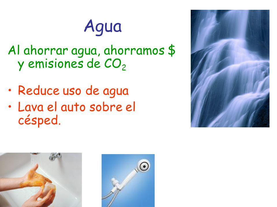 Agua Al ahorrar agua, ahorramos $ y emisiones de CO 2 Reduce uso de agua Lava el auto sobre el césped.